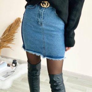 Купить женскую джинсовую голубую юбку двухцветная с поясом в Украине на весну