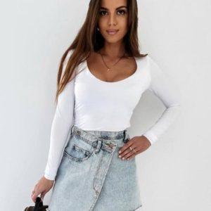Приобрести в интернете голубую джинсовую юбку с косой застежкой для женщин