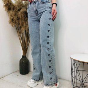 Заказать джинсы голубого цвета с сердцами онлайн для женщин