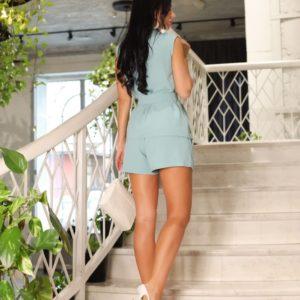 Заказать онлайн женский летний костюм без рукавов с шортами (размер 42-52) бирюзового цвета