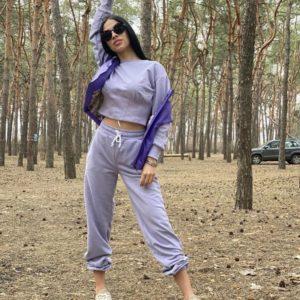 Купить женский плотный костюм лиловый с имитацией корсета по низким ценам