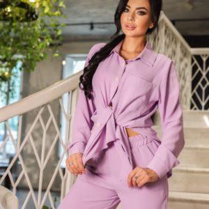 Заказать женский брючный костюм в Украине из креп жатки (размер 42-52) лилового цвета