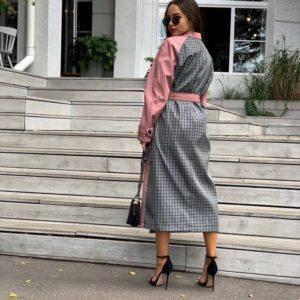 Купити рожевий жіночий довгий тренч з щільної плащової тканини (розмір 42-48) в інтернеті