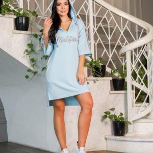 Купить в интернете женскую тунику с капюшоном и надписью (размер 42-52) голубого цвета