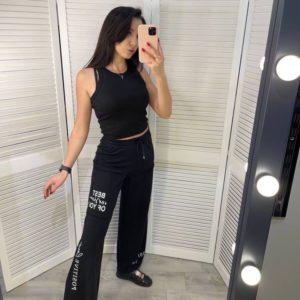 Купить онлайн черные штаны из двухнитки с надписью для женщин