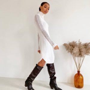 заказать белое вязанное платье силует с длинным рукавом онлайн с доставкой в карантин