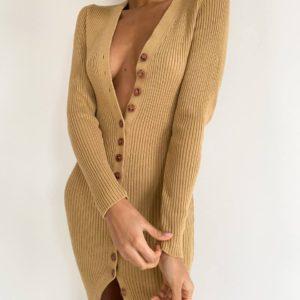 лучшая цена на женское платье бежевого цвета из летней коллекции магазина unimarket