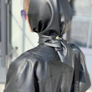 купить чёрную косынку платок из эко кожи с доставкой в любой город Украины