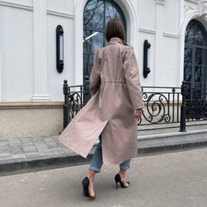 заказать женскую куртку тренч песочного цвета с длинным рукавом недорого