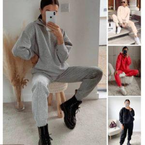 купить женский весенний костюм для спорта по низкой цене в цветах: серый, бежевый, красный, чёрный