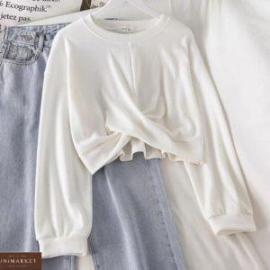Приобрести по низким ценам белого цвета укороченный батник с переплетом для женщин