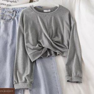 Купить серый женский укороченный батник с переплетом онлайн