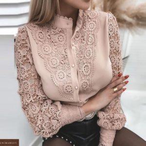 Заказать недорого бежевую нежную блузу с хлопковым кружевом для женщин
