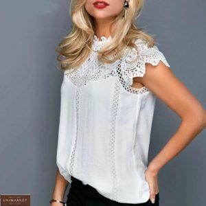 Купить в интернете женскую летнюю блузу с кружевом белого цвета