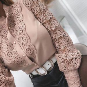 Купить женскую нежную блузу беж с хлопковым кружевом дешево