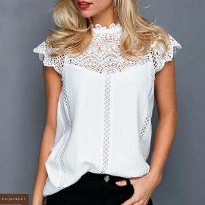 Заказать белую летнюю блузу с кружевом для женщин онлайн