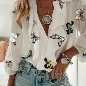 Придбати білу жіночу блузу з метеликами з рюшами (розмір 42-48) в інтернеті