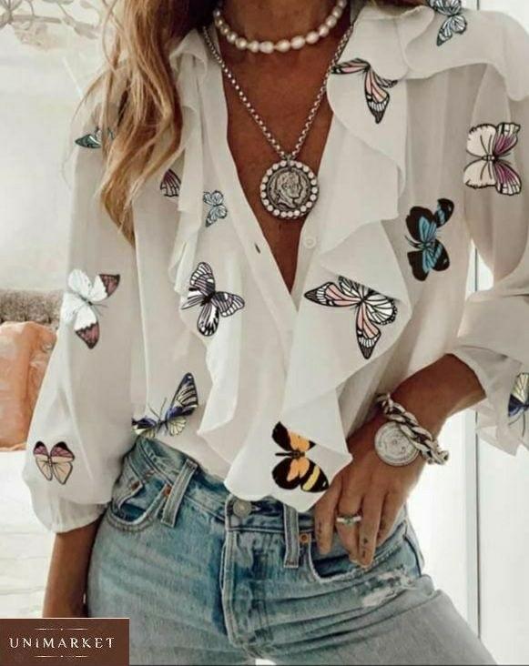 Приобрести белую женскую блузу с бабочками с рюшами (размер 42-48) в интернете