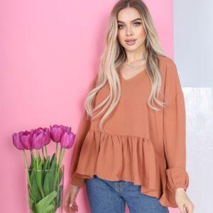 Купить кирпичного цвета для женщин свободную блузку с рюшей в Украине