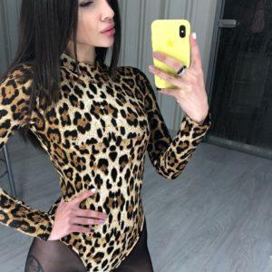 Купити онлайн боді жіноче з довгим рукавом в тваринний принт леопард