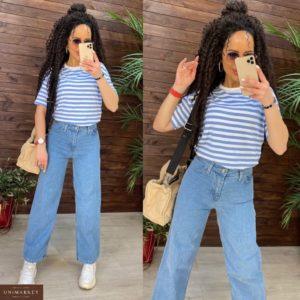 Купить женские голубые джинсы палаццо недорого