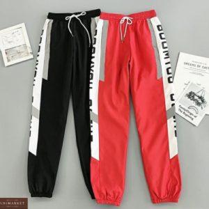 Купить красные, черные джоггеры на резинке в спортивном стиле дешево для женщин