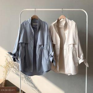 Купить по скидке голубой, беж плащ-кардиган с завязками на рукавах (размер 42-48) для женщин