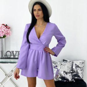 Купить онлайн лиловый комбинезон с шортами и длинным рукавом (размер 42-48) для женщин