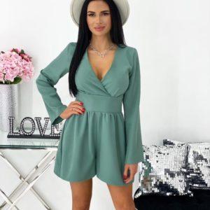 Купить комбинезон женский с шортами и длинным рукавом (размер 42-48) оливкового цвета в Украине