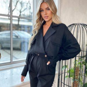 Заказать недорого костюм женский из льна в стиле кэжуал (размер 42-48) черного цвета