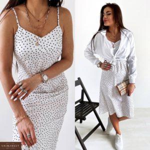 Заказать женский белый костюм двойка: платьев горошек и рубашка (размер 42-48) онлайн