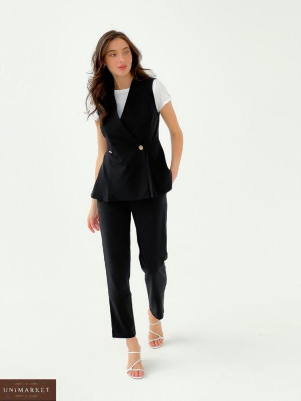 Купить онлайн черный брючный костюм с двубортной жилеткой (размер 42-48) для женщин