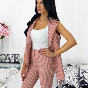 Заказать пудра для женщин костюм в полоску: жилетка+брюки (размер 42-48) по скидке
