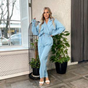 Купить голубой женский костюм из льна в стиле кэжуал онлайн (размер 42-48)