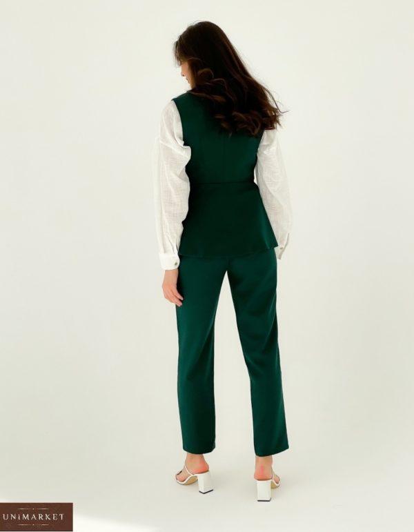 Приобрести зеленого цвета брючный костюм с двубортной жилеткой (размер 42-48) для женщин по скидке