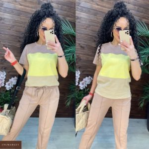 Заказать по низким ценам женский прогулочный трехцветный костюм с футболкой (размер 42-48) бежевый