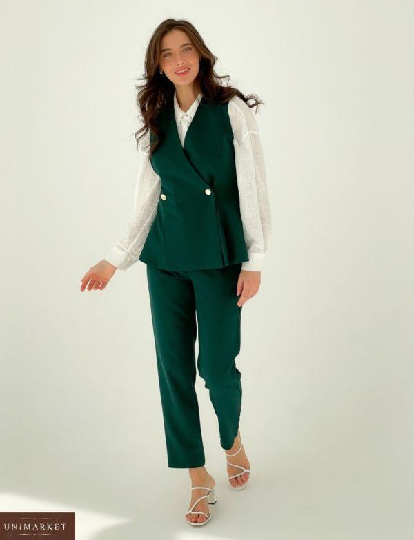Купить в интернете женский брючный костюм с двубортной жилеткой (размер 42-48) зеленый