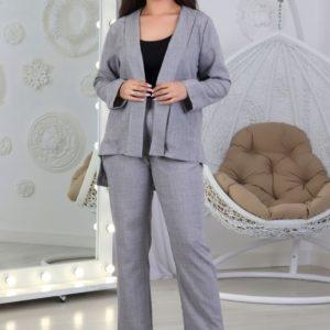 Купить выгодно серый брючный костюм с пиджаком женский из льна (размер 42-52)