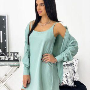 Купить в интернете Костюм: платье+рубашка (размер 42-48) для женщин мятного цвета