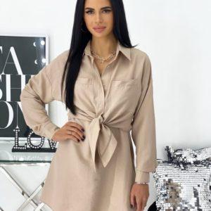 Заказать женский Костюм: платье+рубашка (размер 42-48) бежевый в Украине