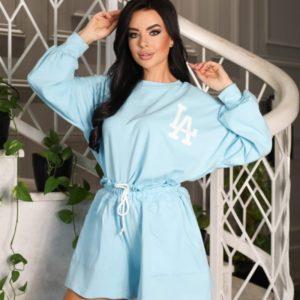 Купить на распродаже женский спортивный костюм LA с шортами (размер 42-52) голубой