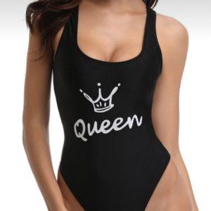 Купить в интернете женский цельный купальни с принтом (размер 42-50) черного цвета