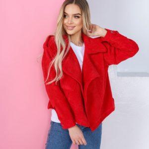 Заказать красного цвета женскую весеннюю куртку из вельвета недорого