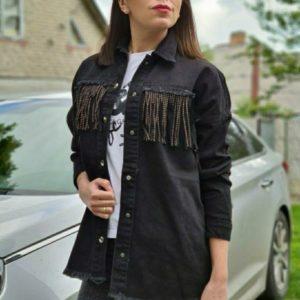 Купить черную женскую джинсовку с необработанным краем с бахромой выгодно