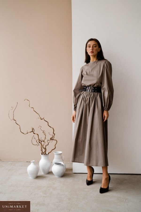 Приобрести серого цвета женское закрытое платье из коттона с длинным рукавом (размер 42-48) в интернете