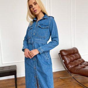 Купить в интернете синее джинсовое платье миди с необработанным краем (размер 42-48) для женщин