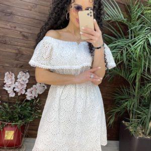 Купить белое платье для женщин из прошвы с вышивкой с открытыми плечами (размер 42-48) недорого
