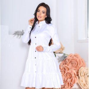 Купить онлайн белое платье-рубашка с длинным рукавом и рюшами (размер 42-48) для женщин