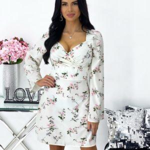 Заказать недорого белое цветочное платье мини с длинным рукавом (размер 42-48) для женщин