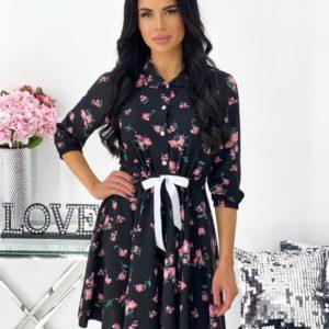 Заказать недорого черное платье мини в цветочный принт для женщин